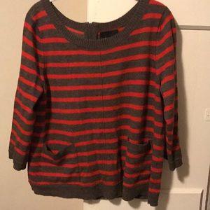 Striped grey/brown merino wool sweater